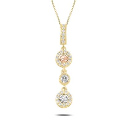 Resim Altın Kaplama Dorica Top & Zirkon Taşlı Sallantılı Gümüş Bayan Kolye
