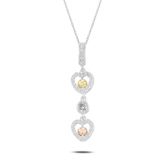 Ürün resmi: Rodyum Kaplama Dorica Top & Zirkon Taşlı Sallantılı Kalp Gümüş Bayan Kolye