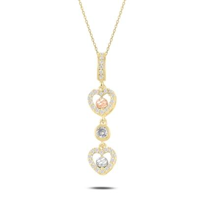 Resim Altın Kaplama Dorica Top & Zirkon Taşlı Sallantılı Kalp Gümüş Bayan Kolye