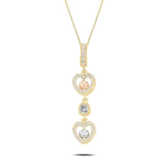 Ürün resmi: Altın Kaplama Dorica Top & Zirkon Taşlı Sallantılı Kalp Gümüş Bayan Kolye