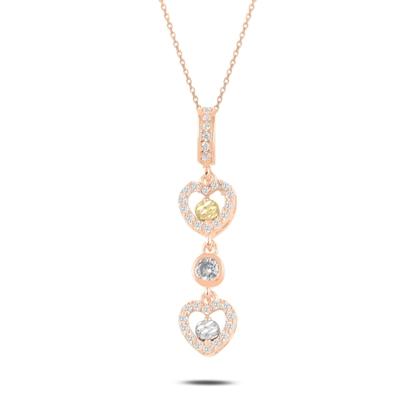 Resim Rose Kaplama Dorica Top & Zirkon Taşlı Sallantılı Kalp Gümüş Bayan Kolye