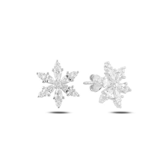 Ürün resmi: Rodyum Kaplama Kar Tanesi Damla Zirkon Taşlı Gümüş Küpe