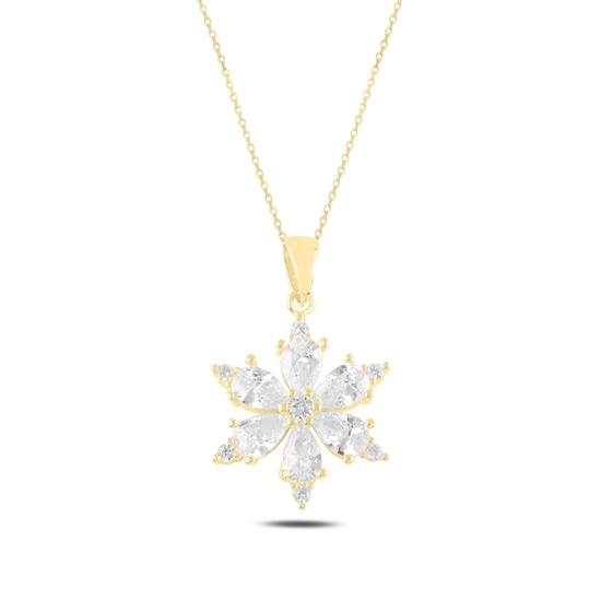 Ürün resmi: Altın Kaplama Kar Tanesi Damla Zirkon Taşlı Gümüş Bayan Kolye