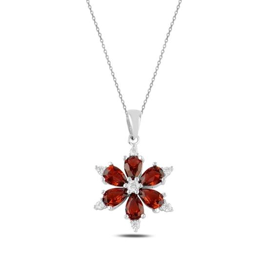 Ürün resmi: Rodyum Kaplama Garnet Zirkon (Koyu Kırmızı) Kar Tanesi Renkli Damla Zirkon Taşlı Gümüş Bayan Kolye