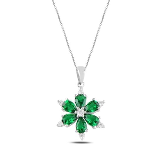Ürün resmi: Rodyum Kaplama Zümrüt Zirkon (Yeşil) Kar Tanesi Renkli Damla Zirkon Taşlı Gümüş Bayan Kolye