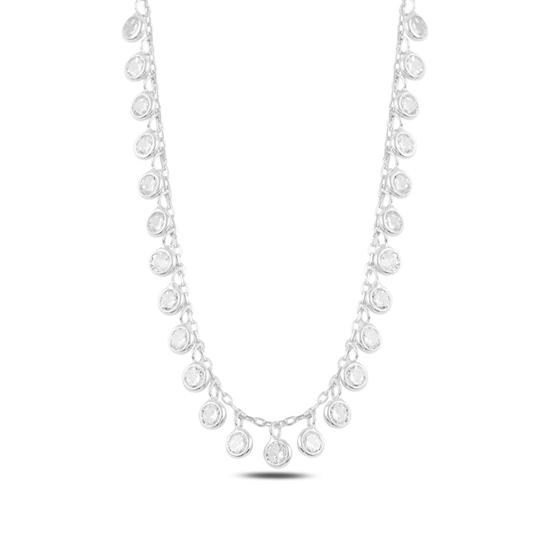 Ürün resmi: Rodyum Kaplama Sallantılı Zirkon Taşlı Gümüş Bayan Kolye