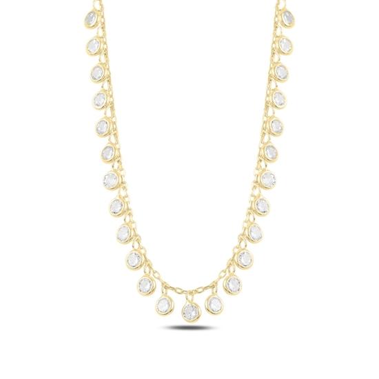 Ürün resmi: Altın Kaplama Sallantılı Zirkon Taşlı Gümüş Bayan Kolye