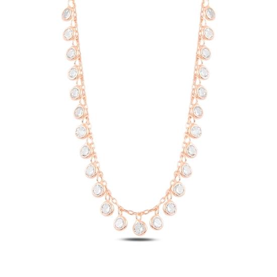 Ürün resmi: Rose Kaplama Sallantılı Zirkon Taşlı Gümüş Bayan Kolye