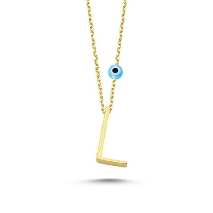 Resim Altın Kaplama L Harfli Gümüş Bayan Hayalet Kolye