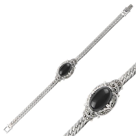 Ürün resmi: Markazit & Doğal Taşlı Gümüş Bayan Bileklik