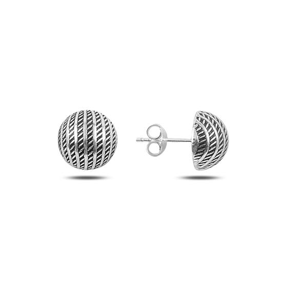 Ürün resmi: 10mm Desenli Yarım Top Gümüş Küpe