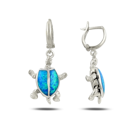 Ürün resmi: Rodyum Kaplama Opal Taşlı Sallantılı Kaplumbağa Gümüş Küpe