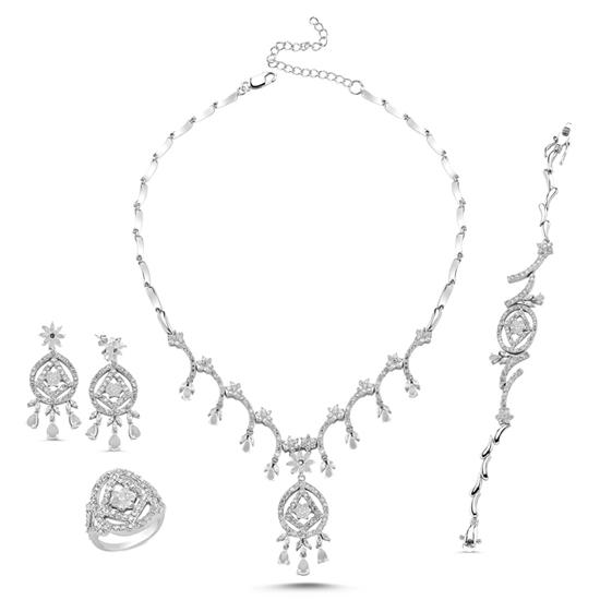Ürün resmi: Rodyum Kaplama Zirkon Taşlı Gümüş Dörtlü Gümüş Bayan Set
