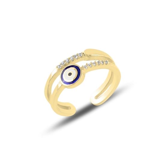 Ürün resmi: Altın Kaplama Mineli Göz & Zirkon Taşlı Ayarlanabilir Boylu Gümüş Bayan Yüzük