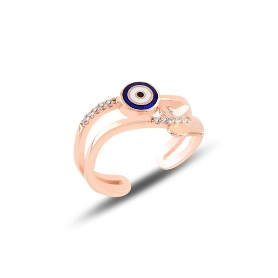 Ürün resmi: Rose Kaplama Kelebek & Göz Zirkon Taşlı Ayarlanabilir Boylu Gümüş Bayan Yüzük