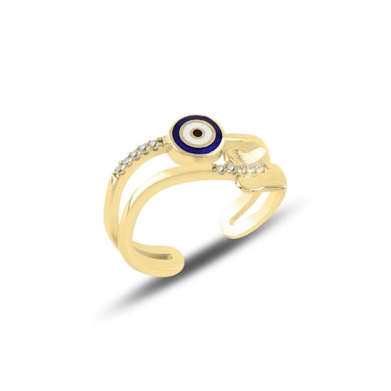 Ürün resmi: Altın Kaplama Kelebek & Göz Zirkon Taşlı Ayarlanabilir Boylu Gümüş Bayan Yüzük