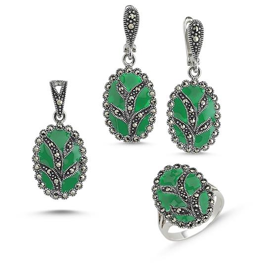 Ürün resmi: Markazit Taşlı Gümüş Üçlü Gümüş Bayan Set