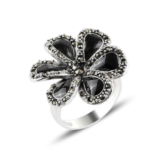 Ürün resmi: Çiçek Mine & Markazit Taşlı Gümüş Bayan Yüzük