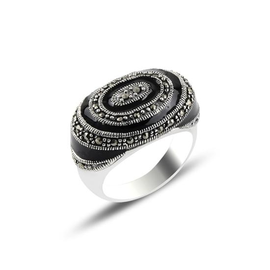 Ürün resmi: Mine & Markazit Taşlı Gümüş Bayan Yüzük