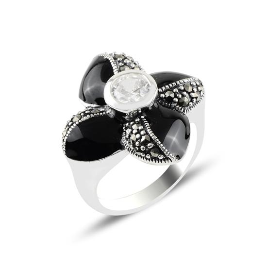 Ürün resmi: Markazit, Zirkon Taş & Mineli Gümüş Bayan Yüzük