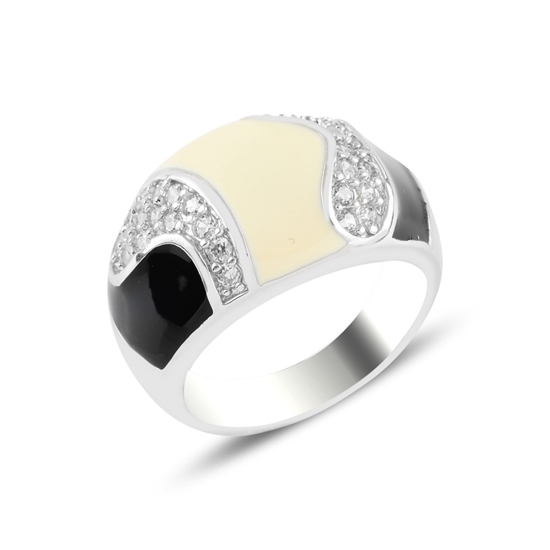 Ürün resmi: Rodyum Kaplama Mine & Zirkon Taşlı Gümüş Bayan Yüzük