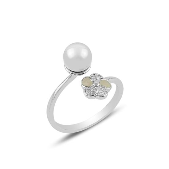 Ürün resmi: Rodyum Kaplama İnci & Zirkon Taşlı Çiçek Gümüş Bayan Yüzük