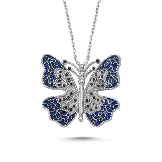 Ürün resmi: Altın Kaplama Mineli Kelebek Gümüş Bayan Kolye
