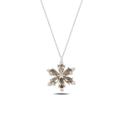 Resim Rodyum Kaplama Lotus Çiçeği Zultanit Zirkon Taşlı Gümüş Bayan Kolye