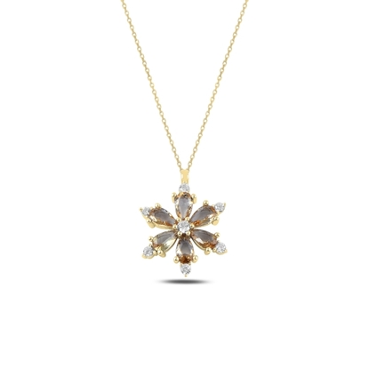 Resim Altın Kaplama Lotus Çiçeği Zultanit Zirkon Taşlı Gümüş Bayan Kolye