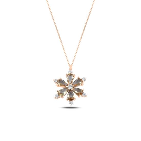 Ürün resmi: Rose Kaplama Lotus Çiçeği Zultanit Zirkon Taşlı Gümüş Bayan Kolye