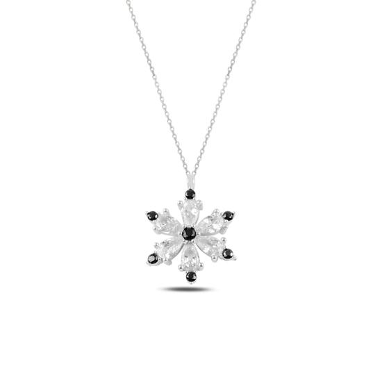 Ürün resmi: Rodyum Kaplama Lotus Çiçeği Siyah Zirkon Taşlı Gümüş Bayan Kolye
