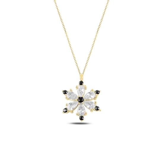 Ürün resmi: Altın Kaplama Lotus Çiçeği Siyah Zirkon Taşlı Gümüş Bayan Kolye