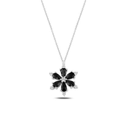 Resim Rodyum Kaplama Lotus Çiçeği Siyah Zirkon Taşlı Gümüş Bayan Kolye