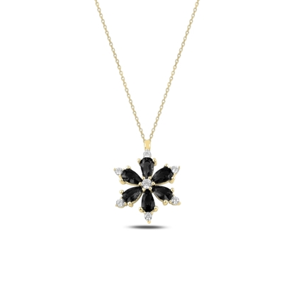 Resim Altın Kaplama Lotus Çiçeği Siyah Zirkon Taşlı Gümüş Bayan Kolye