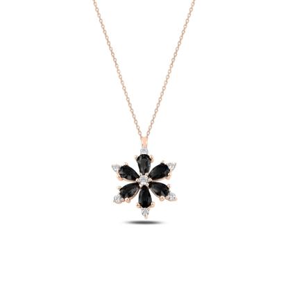 Resim Rose Kaplama Lotus Çiçeği Siyah Zirkon Taşlı Gümüş Bayan Kolye