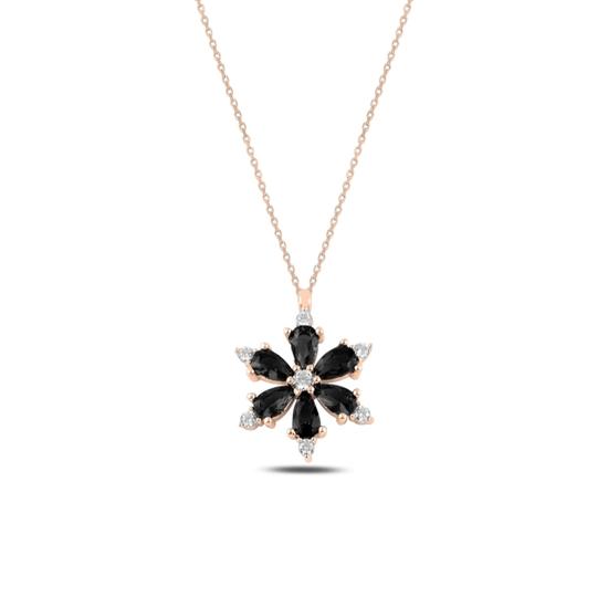 Ürün resmi: Rose Kaplama Lotus Çiçeği Siyah Zirkon Taşlı Gümüş Bayan Kolye
