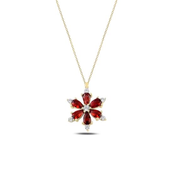 Ürün resmi: Altın Kaplama Lotus Çiçeği Garnet Zirkon Taşlı Gümüş Bayan Kolye