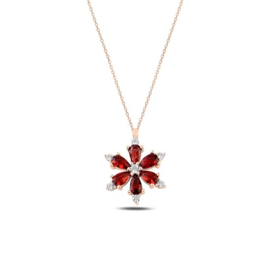 Ürün resmi: Rose Kaplama Lotus Çiçeği Garnet Zirkon Taşlı Gümüş Bayan Kolye
