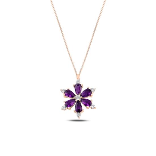 Ürün resmi: Rose Kaplama Lotus Çiçeği Ametist Zirkon Taşlı Gümüş Bayan Kolye