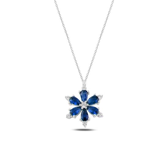 Ürün resmi: Rodyum Kaplama Lotus Çiçeği Safir Zirkon Taşlı Gümüş Bayan Kolye