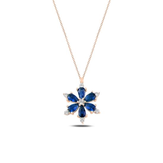 Ürün resmi: Rose Kaplama Lotus Çiçeği Safir Zirkon Taşlı Gümüş Bayan Kolye
