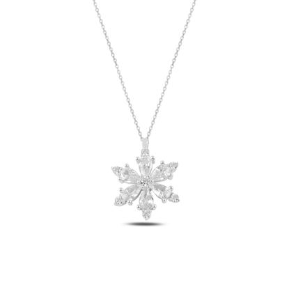 Resim Rodyum Kaplama Lotus Çiçeği Beyaz Zirkon Taşlı Gümüş Bayan Kolye