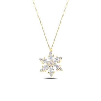 Resim Altın Kaplama Lotus Çiçeği Beyaz Zirkon Taşlı Gümüş Bayan Kolye