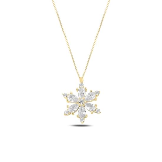 Ürün resmi: Altın Kaplama Lotus Çiçeği Beyaz Zirkon Taşlı Gümüş Bayan Kolye