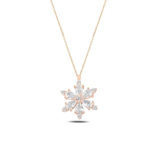 Ürün resmi: Rose Kaplama Lotus Çiçeği Beyaz Zirkon Taşlı Gümüş Bayan Kolye