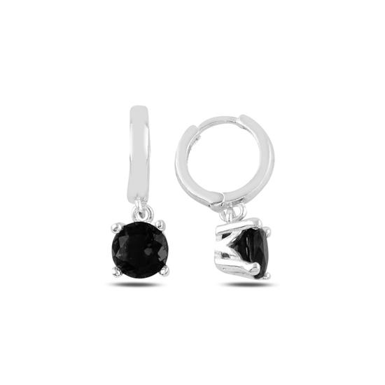 Ürün resmi: Rodyum Kaplama Siyah Zirkon Tektaş Sallantılı Renkli Zirkon Taşlı Hagi Gümüş Küpe