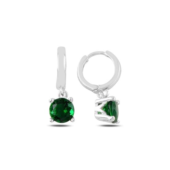 Ürün resmi: Rodyum Kaplama Zümrüt Zirkon (Yeşil) Tektaş Sallantılı Renkli Zirkon Taşlı Hagi Gümüş Küpe