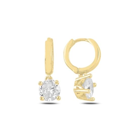 Ürün resmi: Altın Kaplama Tektaş Sallantılı Zirkon Taşlı Hagi Gümüş Küpe