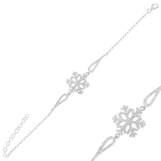 Ürün resmi: Rodyum Kaplama Kar Tanesi Zirkon Taşlı Gümüş Bayan Bileklik