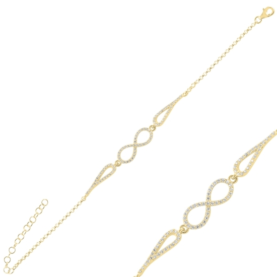 Ürün resmi: Altın Kaplama Sonsuzluk Zirkon Taşlı Gümüş Bayan Bileklik